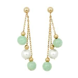 Jade, White Freshwater Pearl, and Gold Bead Dangle Earrings on 14K