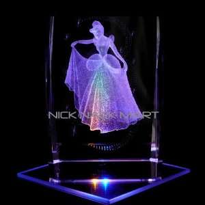 Cinderella 3D Laser Etched Crystal includes Two Separate LEDs Display