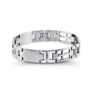 Modern Mens Stainless Steel Open Cross Link Bracelet Jewelry