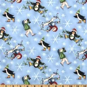 44 Wide Snow Days Toss Light Blue Fabric By The Yard