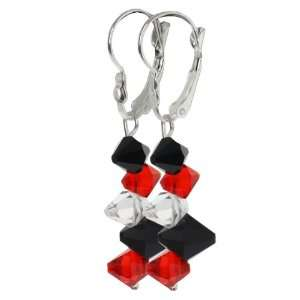 Red Black and White Faceted Crystal Dangle Hook Earrings For Women