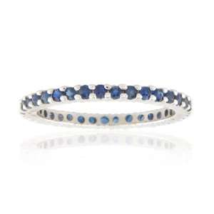 14k Gold Sapphire all Around Eternity Ring with 0.80ct tw of Sapphire