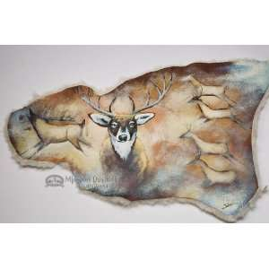 Painted Southwest Sheep Skin 24x37  Spirit Deer (19
