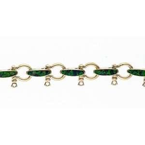 Reyes del Mar 14K Gold Small Shackle Inlay Bracelet