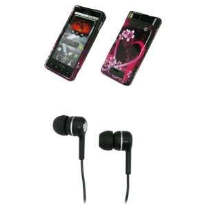 Heart Flowers Design Hard Case Cover + Stereo Hands Free 3.5mm Headset