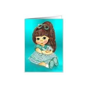 Little Girl Sitting Holding Blue Teddy Bear Card Health