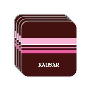 Personal Name Gift   KAUSAR Set of 4 Mini Mousepad Coasters (pink