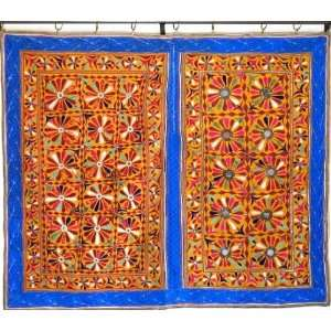 KUTCH BANJARA MIRROR INDIAN TAPESTRY WALL HANGING QUILT