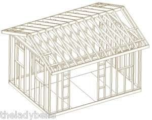 12X16 GABLE ROOF BACKYARD SHED PLANS, DIY 26 PLAN SET