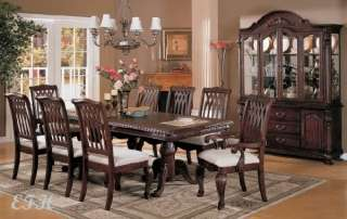 NEW 9 PC CHERRY WOOD DINING ROOM TABLE SET W/ 8 CHAIRS