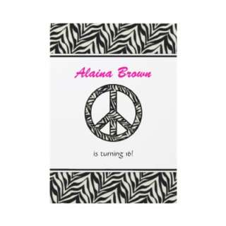 Zebra Print Peace Sign Birthday Party Invitation by SayItNow