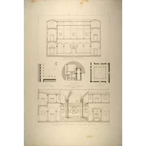 1860 Engraving Courtyard San Giovanni dei Genovesi Rome