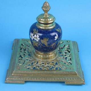 Antique Victorian Porcelain & Brass Inkwell Prize Dated 1885