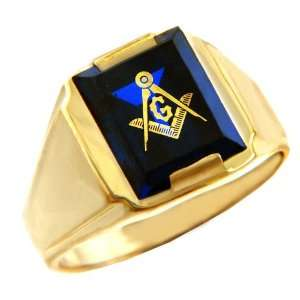 Mens Masonic Gold Rings   The Blue Stone Square and Compass Gold Ring