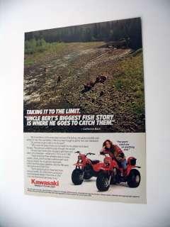 Kawasaki 3 Wheeler ATV Catherine Bach 1985 print Ad