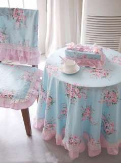 Shabby and Elegant Blue rose/pink gingham Matching table cloth
