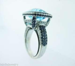 FINE ESTATE 18K WHITE GOLD LADIES RING w BLUE TOPAZ SAPPHIRES DIAMONDS