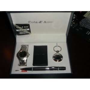 Cote D Azur Watch, Money Clip, Key Chain, and Pen Set