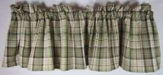 Country Green Brown Tan Plaid Oak Grove Cotton Valance 72x14