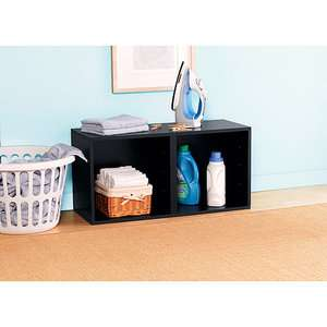 Mainstays Modular Storage Double Cube Storage Base, Black Furniture