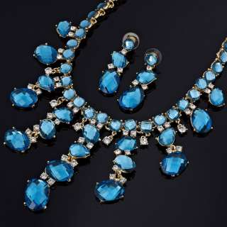 Wedding Jewelry Set Necklace Earrings 18K Gold Plated Aquamarine Oval