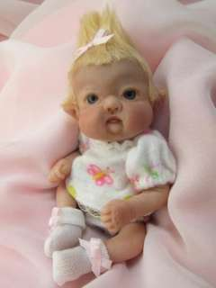Sculpted Baby Girl Leprechan Fairy Polymer Clay Art Doll Collectible