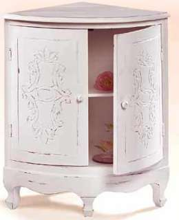 Shabby Cottage Country Chic Carved Corner Curio Cabinet |