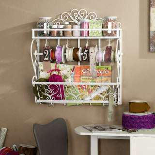 White Metal Wall Mount Craft Storage Shelf Rack NEW