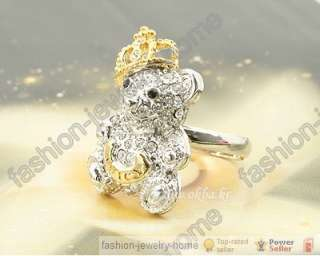 Lovely Teddy Bear Clear Crystal Dazzling Gold Plated Crown Ring
