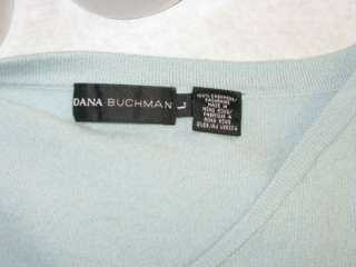 DANA BUCHMAN Aqua Blue Spring Cashmere Sweater Lg