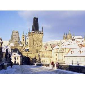 Snow Covered Gothic Charles Bridge with Baroque Statues, Mala Strana