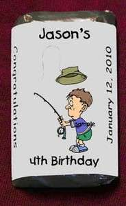 Camping Fishing Miniatures Candy Wrappers Birthday Party Personalized