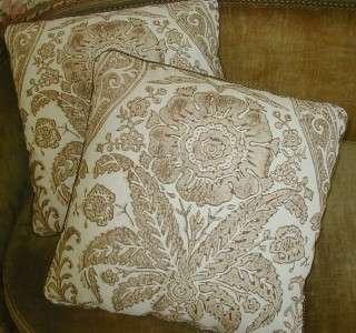 Scalamandre Linen Fabric Custom Decorator Throw Pillows Tan Ivory 2