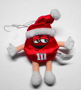 Red M&M Plush Candy Toy Fun Friend Christmas Ornament 2001 Mars Inc. 7