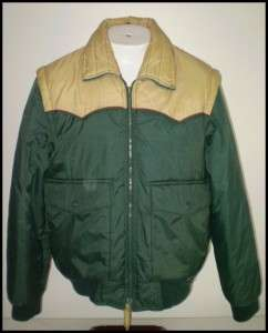 80s DEEP NORTH Insulated PUFFY SKI Jacket VEST Green M