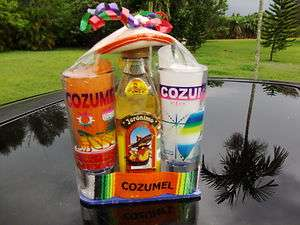TWO COZUMEL JERONIMO TEQUILA SHOT GLASSES GIFT SET 4 TALL COZUMEL