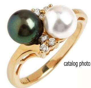 New Stuller Akoya Black White Cultured Pearl Gold Ring
