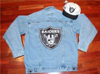 VTG Los Angeles Raiders Blue Jean Jacket Crewneck Sweater Sweat Shirt