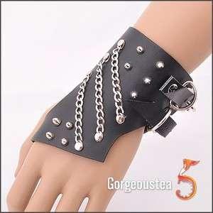 Silver Stud Chains Leather Cuff Bracelet Wristband Punk Fashionable
