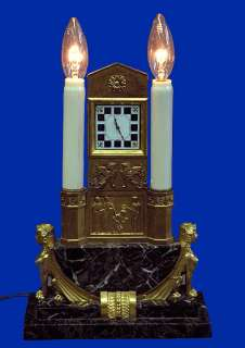 DETAILED BRONZE EGYPTIAN REVIVAL MARBLE ELECTRIC MANTLE CLOCK