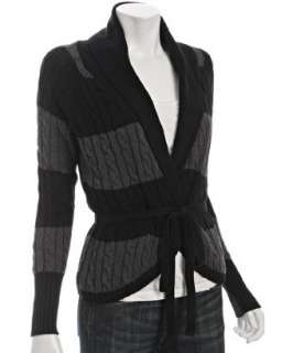 Autumn Cashmere jet cotton striped cable knit belted cardigan