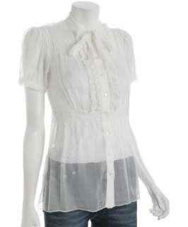 Romeo & Juliet Couture ivory chiffon ruffle trim tie neck blouse