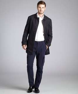 Brunello Cucinelli navy and brown cotton Impermeable reversible four