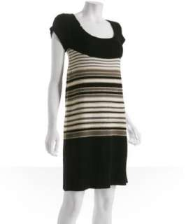 Vivienne Tam black stripe wool sweater dress