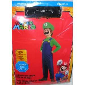 Super Mario Luigi Childs Costume Size Large 10 12 Toys & Games