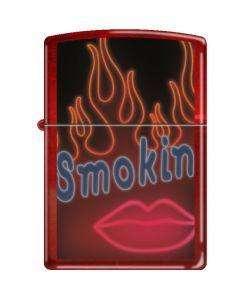 Candy Apple Red Zippo Lighter Smokin Neon Lips & Flame