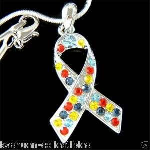 Crystal Child Autism Asperger Cancer Awareness Ribbon Charm Necklace