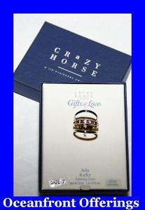 Liz Claiborne Crazy Horse Ruby Crystal Gold Ring 3pcs