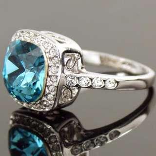 White Gold GP Blue Swarovski Crystal Cocktail Ring a309