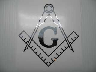 Black Chrome Masonic Square & Compass Vinyl Decal